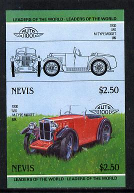 Nevis 1985 $2.50 MG Midget (1930) unmounted mint imperf se-tenant pair (as SG 261a)