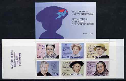 Booklet - Finland 1992 Noted Finnish Women 12m60 booklet complete and pristine, SG SB33