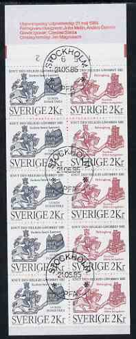 Booklet - Sweden 1985 St Canute 20k booklet complete with first day cancels, SG SB382