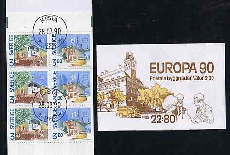 Booklet - Sweden 1990 Europa 22k80 booklet complete with first day cancels, SG SB425