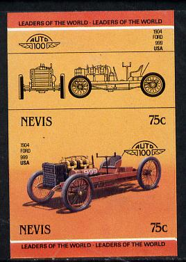 Nevis 1985 75c Ford 999 (1904) unmounted mint imperf se-tenant pair (as SG 259a), stamps on cars, stamps on ford