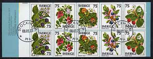 Booklet - Sweden 1977 Wild Berries 7k50 booklet complete with first day cancels, SG SB321