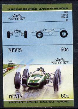 Nevis 1985 60c Cooper Climax (1960) unmounted mint imperf se-tenant pair (as SG 257a)