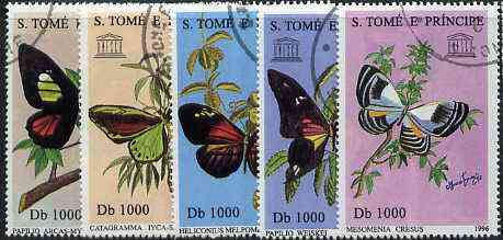 St Thomas & Prince Islands 1996 Butterflies complete set of 5 values cto used