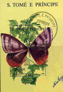 St Thomas & Prince Islands 1996 Butterflies perf miniature sheet cto used
