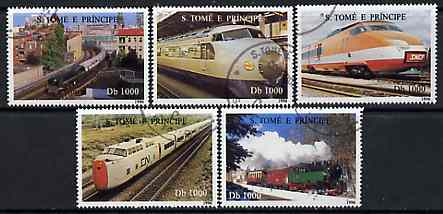 St Thomas & Prince Islands 1997 Locomotives complete set of 5 values cto used