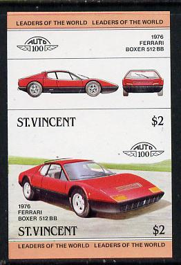 St Vincent 1983 $2 Ferrari Boxer  512BB (1976) unmounted mint imperf se-tenant pair (as SG 737a)