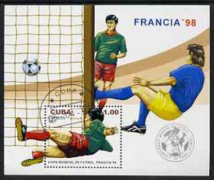 Cuba 1997 World Cup Football perf m/sheet cto used, SG MS 4158
