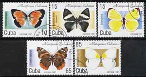Cuba 1997 Butterflies complete perf set of 5 values cto used, SG 4164-68