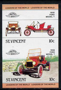 St Vincent 1983 10c Ford Model 'T' (1908) unmounted mint imperf se-tenant pair (as SG 727a)
