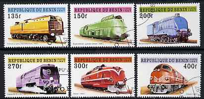 Benin 1997 Locomotives complete set of 6 values cto used, SG 1607-12
