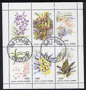 Batum 1996 Orchids sheetlet containing set of 6 values cto used