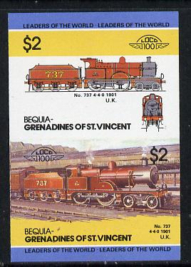St Vincent - Bequia 1985 Locomotives #3 (Leaders of the World) $2 (4-4-0 Loco 737) unmounted mint imperf se-tenant pair