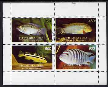 Touva 1996 Tropical Fish perf sheetlet containing complete set of 4 values cto used