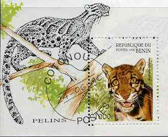 Benin 1996 Wild Cats perf m/sheet (1000f value) cto used Mi BL 19