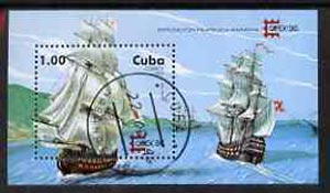 Cuba 1996 Capex 96 Stamp Exhibition (18th Century Sailing Ships) perf miniature sheet cto used, SG MS4078