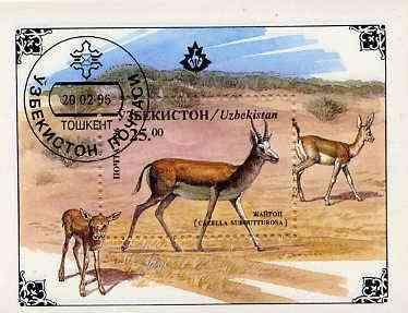 Uzbekistan 1996 Antelope perf miniature sheet cto used