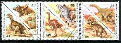 Sahara Republic 1997 Pre Historic Animals complete triangular set of 6 values cto used, stamps on dinosaurs    triangulars