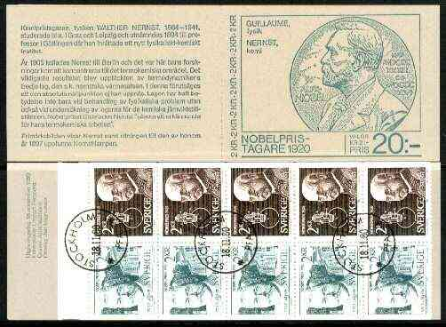 Booklet - Sweden 1980 Nobel Prize Winners of 1920 20k booklet complete with first day cancels, SG SB347