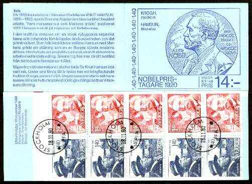 Booklet - Sweden 1980 Nobel Prize Winners of 1920 14k booklet complete with first day cancels, SG SB346