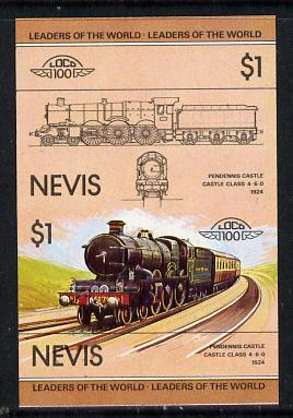 Nevis 1983 Locomotives #1 (Leaders of the World) Pendennis Castle $1 unmounted mint se-tenant imperf pair in issued colours (as SG 138a)