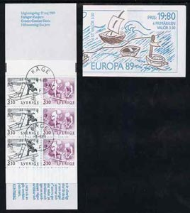 Booklet - Sweden 1989 Europa 19k80 booklet (Children's Games) complete with first day cancels, SG SB417