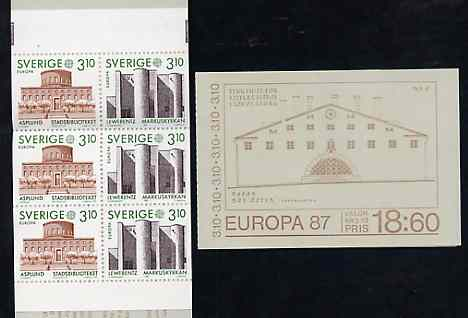 Booklet - Sweden 1987 Europa 18k60 booklet (Architecture) complete and pristine, SG SB398