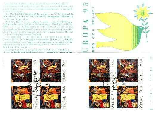 Booklet - Sweden 1995 Europa 44k booklet (Peace & Freedom) complete with first day cancels