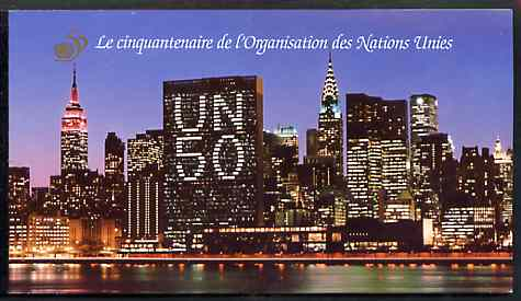 Booklet - United Nations (Geneva) 1995 50th Anniversary 3f60 booklet complete with first day cancels, SG SB G1, stamps on united-nations     cultures