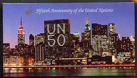 Booklet - United Nations (NY) 1995 50th Anniversary $3.84 booklet complete with first day cancels, stamps on united-nations     cultures