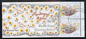 Booklet - Australia 1992 'Thinking of You' $4.50 booklet complete with first day cancels, SG SB77
