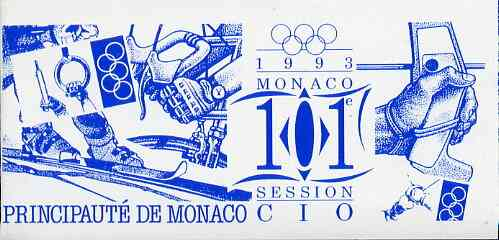 Booklet - Monaco 1993 Olympic Committee Session 36f booklet complete and very fine, SG SB11