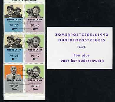 Booklet - Netherlands 1993 Welfare Funds - Senior Citizens 6g75 booklet complete with first day cancels SG SB109