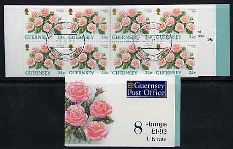 Booklet - Guernsey 1993 Flowers \A31.92 booklet (without bar code) complete with first day cancels, SG SB50
