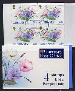 Booklet - Guernsey 1993 Flowers \A31.12 booklet complete with first day cancels, SG SB48