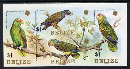 Belize 1984 Parrots set of 4 in imperforate se-tenant block unmounted mint (SG 806a)