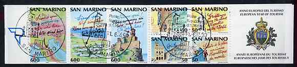 Booklet - San Marino 1990 Tourism Year 2,000L booklet complete with first day cancels, SG SB2