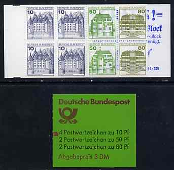 Booklet - Germany - West 1982 German Castles 3m booklet complete and fine, SG SB73, stamps on castles