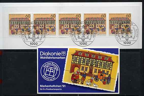 Booklet - Germany - West 1991 B\9Fdingen Post Station 4m50 booklet complete with commemorative cancels (contains SG 2416 x 5), stamps on postal     mail coaches
