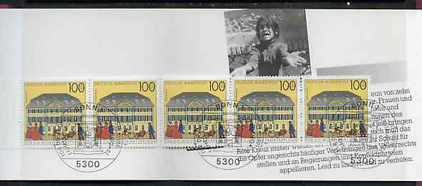 Booklet - Germany - West 1991 Red Cross 7m50 booklet complete with commemorative cancels (contains SG 2419 x 5), stamps on postal         red cross