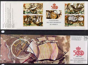 Booklet - Spain 1990 500th Anniversary of Discovery of America (5th Issue) 76p booklet complete with pre-release cancel (15th Oct) SG SB8