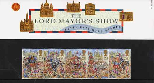 Great Britain 1989 Lord Mayor's Show, London strip of 5 in official presentation pack SG 1457a