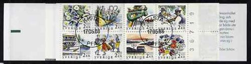 Booklet - Sweden 1988 Rebate Stamps 20k booklet (Midsummer Festival) complete with first day cancels, SG SB408, stamps on dancing    music    folklore     ships    flowers