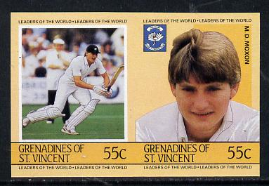 St Vincent - Grenadines 1985 Cricketers #3 - 55c M D Moxon - unmounted mint imperf se-tenant pair (as SG 364a)