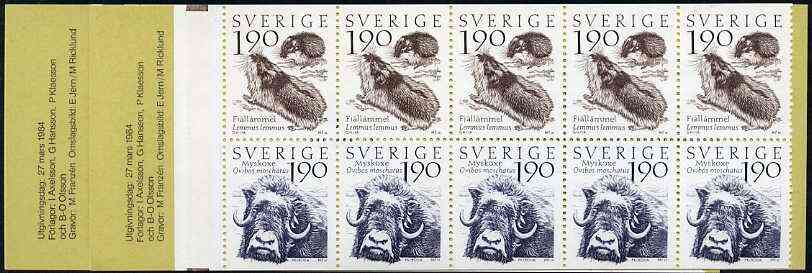 Booklet - Sweden 1984 Swedish Mountain World 19k booklet complete and pristine, SG SB371, stamps on lemming    oxen      bovine      animals