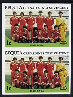 St Vincent - Bequia 1986 World Cup Football 1c (S Korean Team) unmounted mint imperf pair