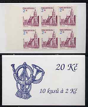 Booklet - Czech Republic 1993 Usti Nad Labem 20kc booklet (Posthorn on cover) complete and fine containing pane of 10 x Mi 13