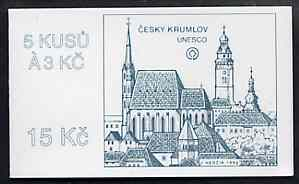 Booklet - Czech Republic 1993 Cesky Krumlov 15kc booklet (UNESCO site on cover) complete and fine containing pane of 5 x Mi 14