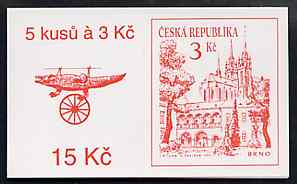 Booklet - Czech Republic 1994 Brno 15kc booklet (Crocodile on cover) complete and fine containing pane of 5 x Mi 35