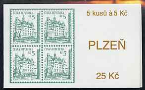 Booklet - Czech Republic 1993 Pilsen 25kc booklet (Stamp on cover) complete and fine containing pane of 5 x Mi 15
